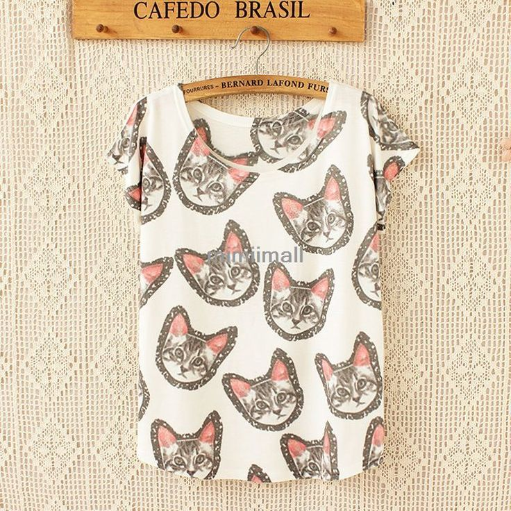 Korean Women's Loose Casual Short Sleeve Printing Batwing Blouse T Shirt Tops | eBay