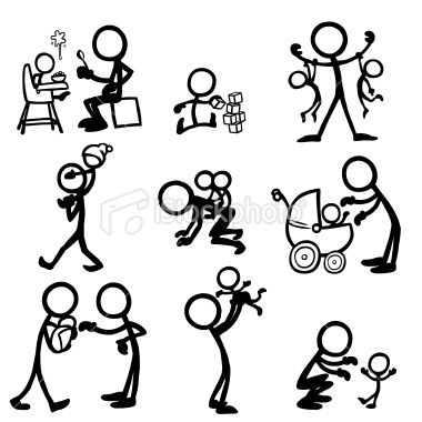 Stickfigure Babies Royalty Free Stock Vector Art Illustration