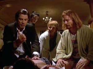 John Travolta, Rosanna Arquette, and Eric Stoltz, in Pulp Fiction, which celebrates 20 years!  Follow the link attached to this image and take a look at how the film deals with American imperialism and other themes.  Be sure to 'like', share and leave a comment.