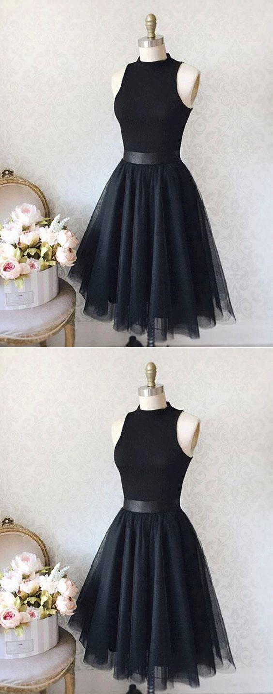 Vintage a-line Stehkragen ärmelloses knielanges schwarzes Heimkehrkleid mit