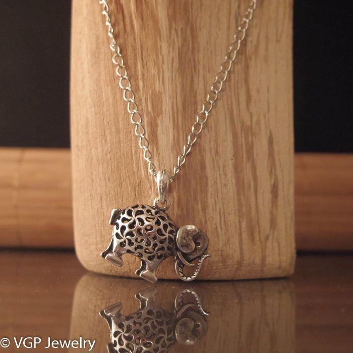 Mooie Olifant Ketting: lange zilverkleurige ketting