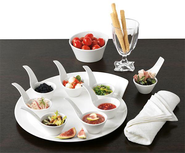 Elegant way to serve appetizers. Beautiful dinnerware from Villeroy & Boch.