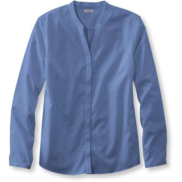 L.L.Bean Wrinkle-Free Pinpoint Oxford Shirt, Long-Sleeve Splitneck (1 275 UAH) ❤ liked on Polyvore featuring plus size women's fashion, plus size clothing, plus size tops, blue top, long sleeve tops, oxford shirt, fitted tops and long sleeve oxford shirt