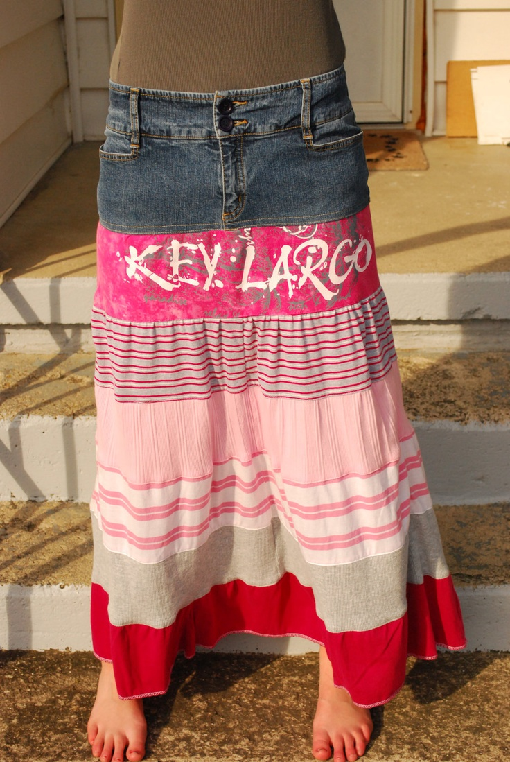 Blue Jean, Pink & Gray Tshirt Size 8 INC Upcycled Jean Skirt. $35.00, via Etsy.