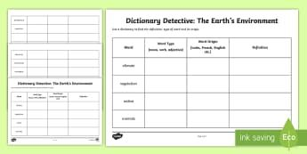 The Earth's Environment Word Origins and Meanings Activity Sheet -  Geography, English, Dictionary, Word Meanings, Origins, Year 3, Year 4