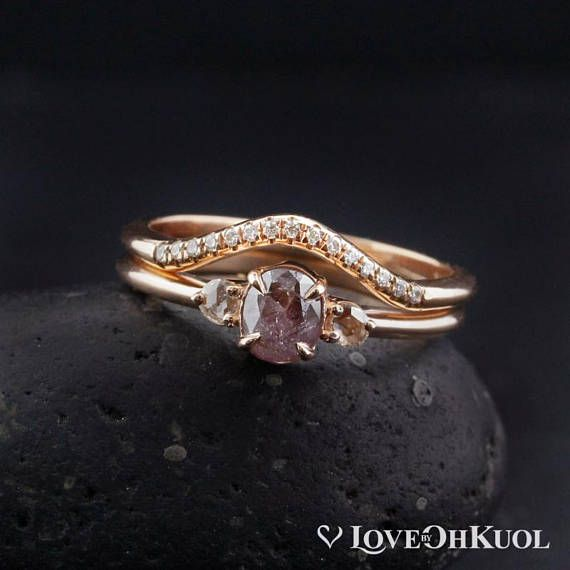Rose Gold Pink Diamond Ring with Curved Wedding Band Bridal
