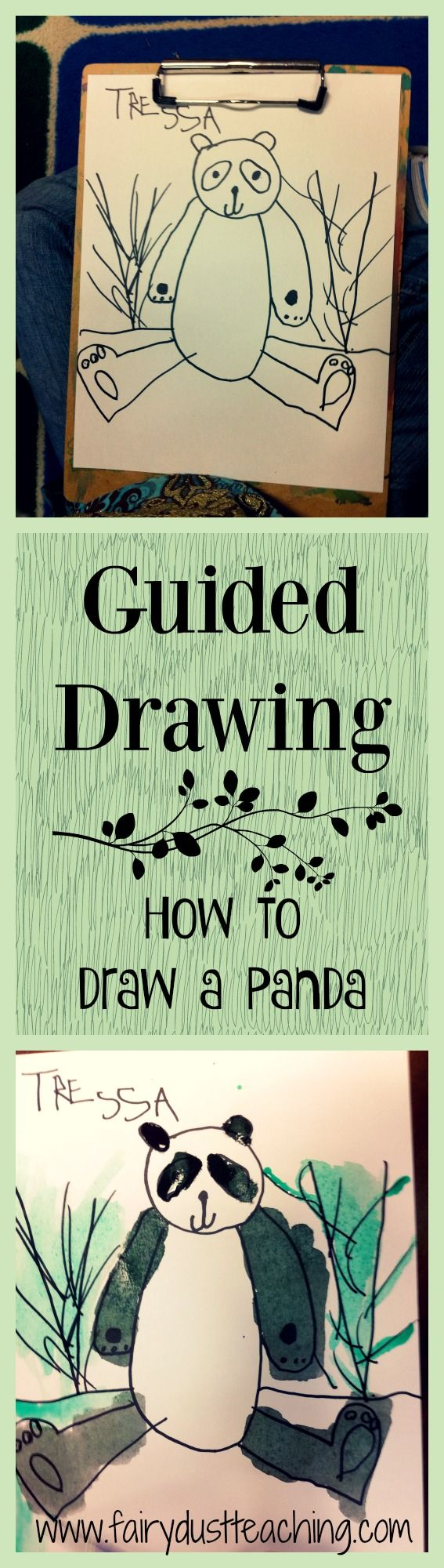 Guided Drawing Lesson: How to draw a panda. Get the step-by-step at Fairy Dust Teaching.