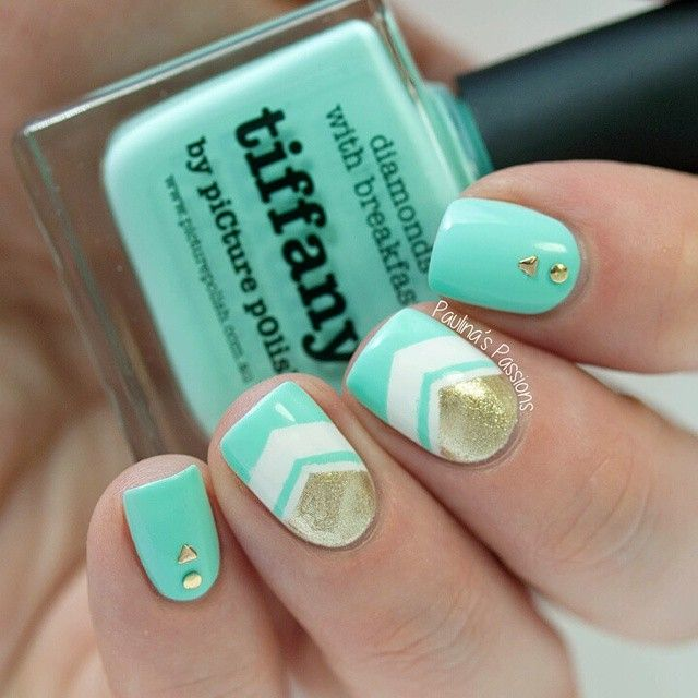 Tiffany Blue and Gold Chevron Nails With Gold Studs.