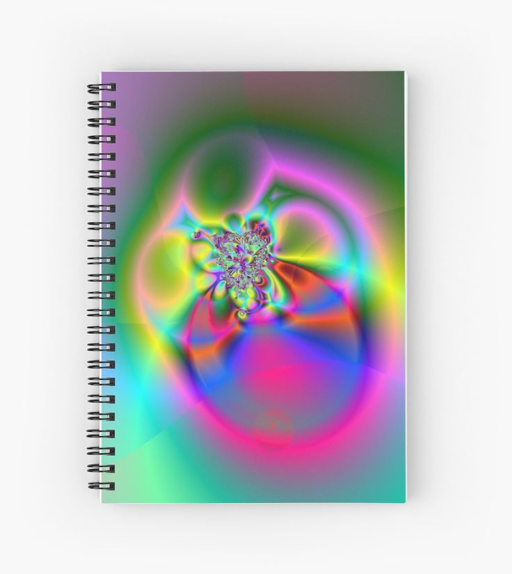 Illusion (FL24-002) Spiral Notebooks by Terrella.  A bright and colourful fractal image which some see as flowers, others a fly or beetle and some see a ring. What do you see? • Also buy this artwork on stationery, apparel, phone cases, and more.
