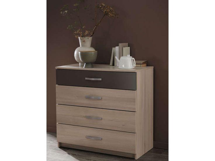 commode 4 tiroirs graphic coloris acacia vente de mr032015g1 conforama chambre pinterest. Black Bedroom Furniture Sets. Home Design Ideas