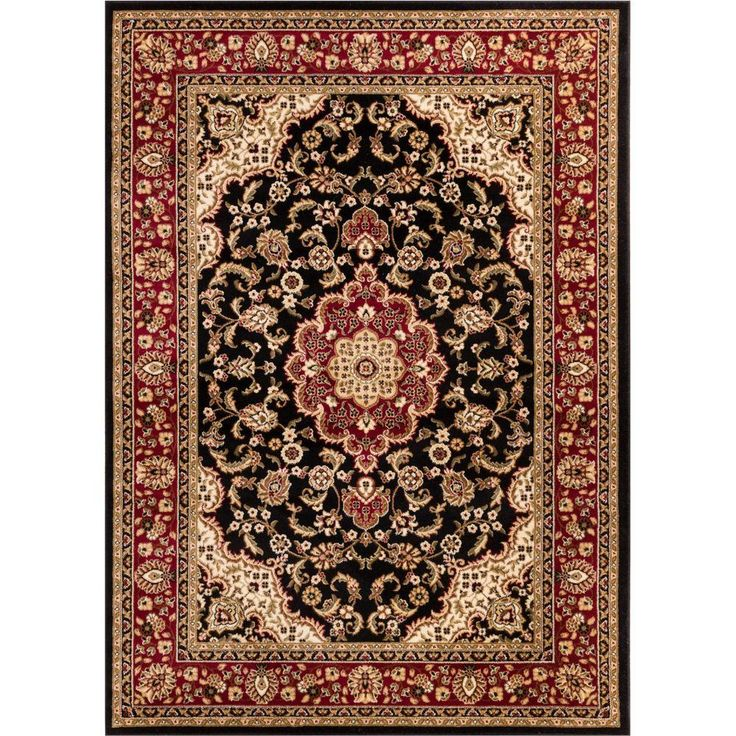 Barclay Medallion Kashan Black 7 ft. 10 in. x 9 ft. 10 in. Traditional Area Rug