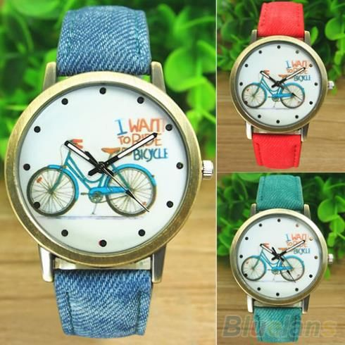 Aliexpress.com: Comprar Moda mujer bici de bronce Jean tela Band cuarzo analógico reloj de pulsera 1MNI de tejido revestido pelota de playa fiable proveedores en SunShine Fashion Store - Clothing Bags Wholesale Price