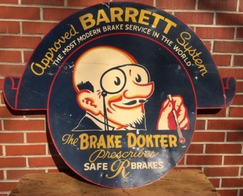 VINTAGE-30-039-S-STYLE-APPROVED-BARRETT-BRAKE-SYSTEM-GAS-STATION-DISPLAY-SIGN-WILD
