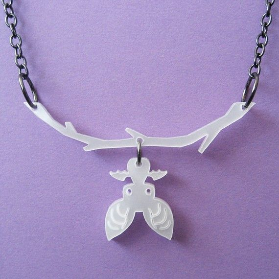 Hanging Bat Necklace in White by sugarposse on Etsy, $14.00