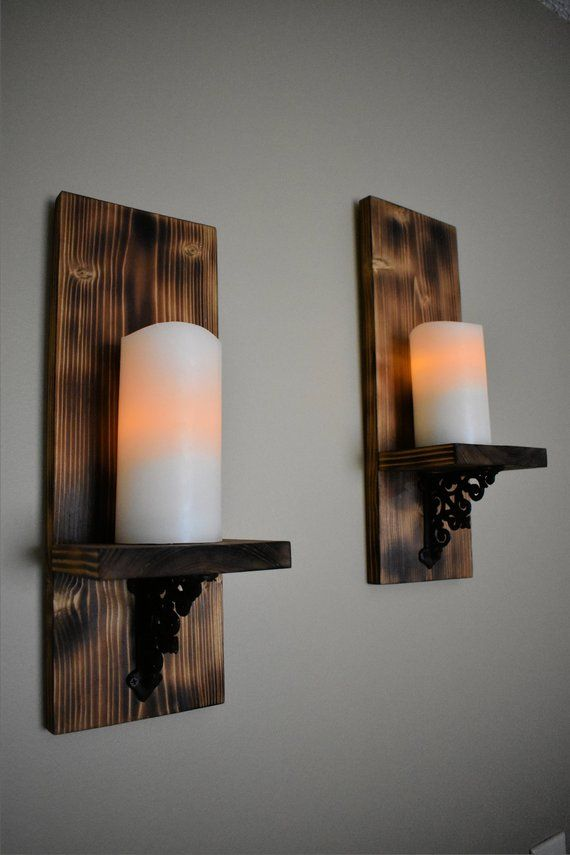 Wood Display Shelf Small Shelf Wall Candle Holder Etsy In 2021 Candle Sconces Rustic Candle Sconce Candle Wall Sconces