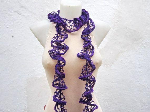 Purple  Crochet Scarf  Frilly scarf Ruffled Scarf by scarfnurlu