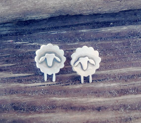 Sheep handmade sterling silver stud earrings unique gift