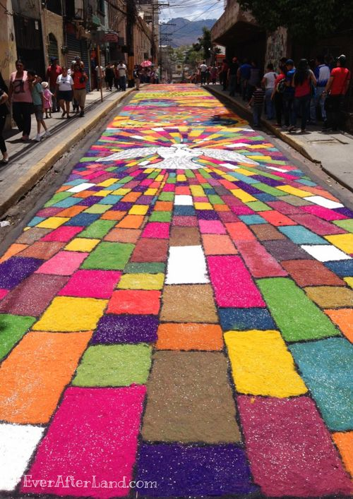 "An Easter ""Carpet"" during Holy Week in Tegucigalpa, Honduras.  Created with colored sawdust - simply stunning!"