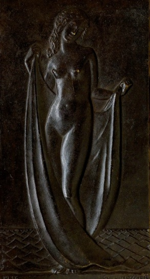 'BAIGNEUSE', A PATINATED BRONZE AND WOOD BAS-RELIEF, BY CLAUDIUS LINOSSIER, 1936