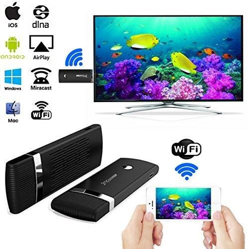 HDMI WIFI Display DongleCostech [Update Version] 2.4G WiFi Wireless 1080P Hdmi Streaming Media Dongle Miracast Device For iPhone/iPad/Mac Book Android/OS/iOS/Mac OS/Windows Devices (Black)