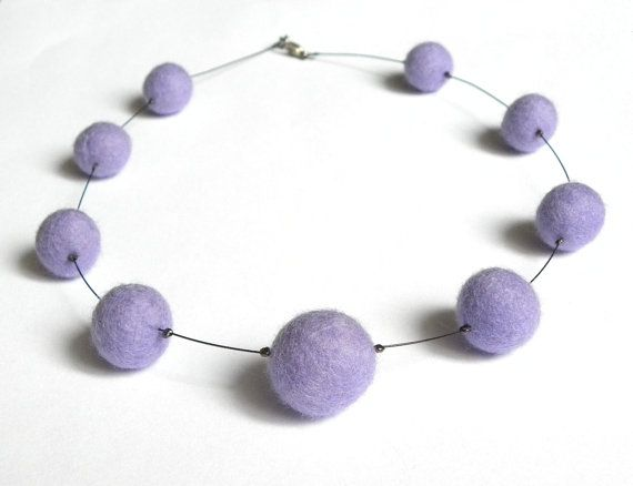 Violet felted necklace balls light delicate for a by MarudaFelting