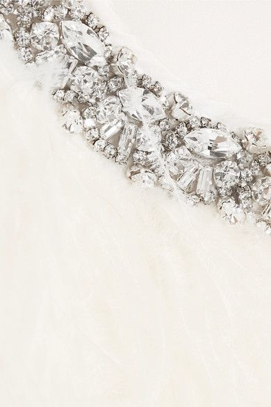 Miu Miu - Cropped Crystal-embellished Feather Jacket - White
