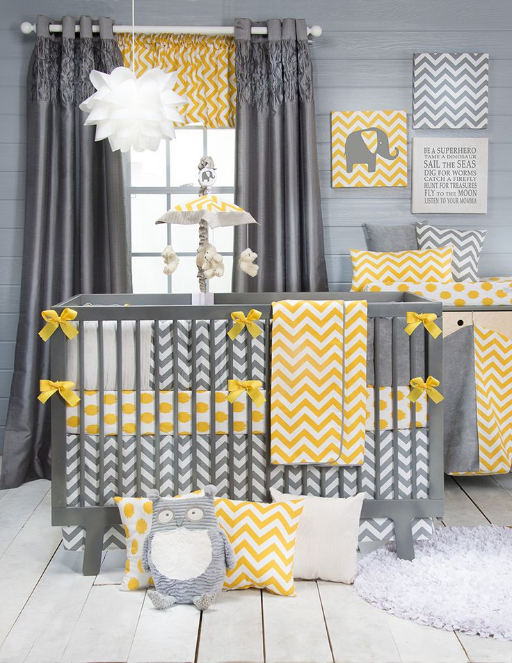 Swizzle baby bedding is a vibrant gender neutral set with layers of pattern and a fresh contemporary feel. Ash and Corn Chevron prints are patched together with white and grey velvets and accented with yellow grosgrain ribbon ties for a lush bumper.  Trimmed with fabric covered cord, the quilt features a super soft backing.  Easily accessorized with a range of vinyl decals, wall art and assorted pillows. All prints are 100% cotton.
