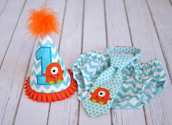 Little Monster Cake Smash Outfit - Little Guy Tie, Diaper Cover, Hat - Monster Aqua Orange Lime First Birthday Party Cake Smash Outfit