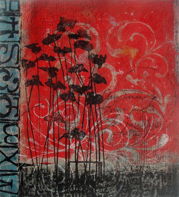 "Hidden in Plain Sight, Anne Moore, monotype, 15""X14"""