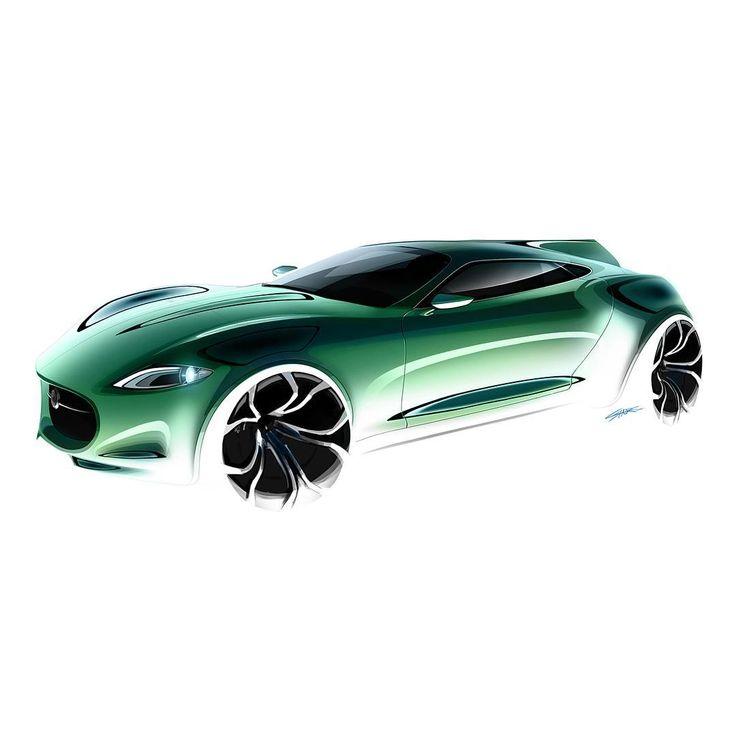 """Jaguar H-Type Concept Design sketch, rendering By Landon Shore (@l_shore) #jaguar #htype #conceptdesign #cardesign #carsketch #carrendering #cardesigner…"""