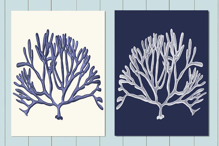 Mare corallo stampe Set di 2 stampe blu e corallo di NauticalNell