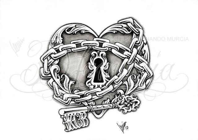 heart lock chain key tattoo flash