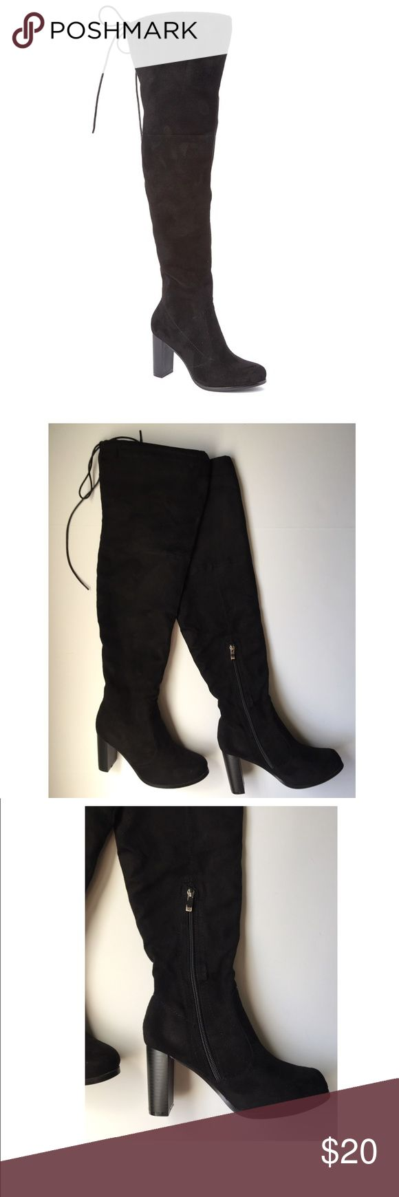 Black faux suede tie back over the knee boots⚡️ -Black soft faux suede boots by Bucco with 3.5in. heel -Worn a few times, in overall EUC -Zip inside closures, back tie drawstrings at top with faux leather strip at inside top so boots stay up -24in. shaft, 18in. measured around top Shoes Over the Knee Boots