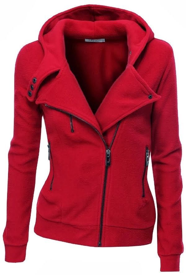 red warm fleece zip up hoodie fashion frenzy cold. Black Bedroom Furniture Sets. Home Design Ideas