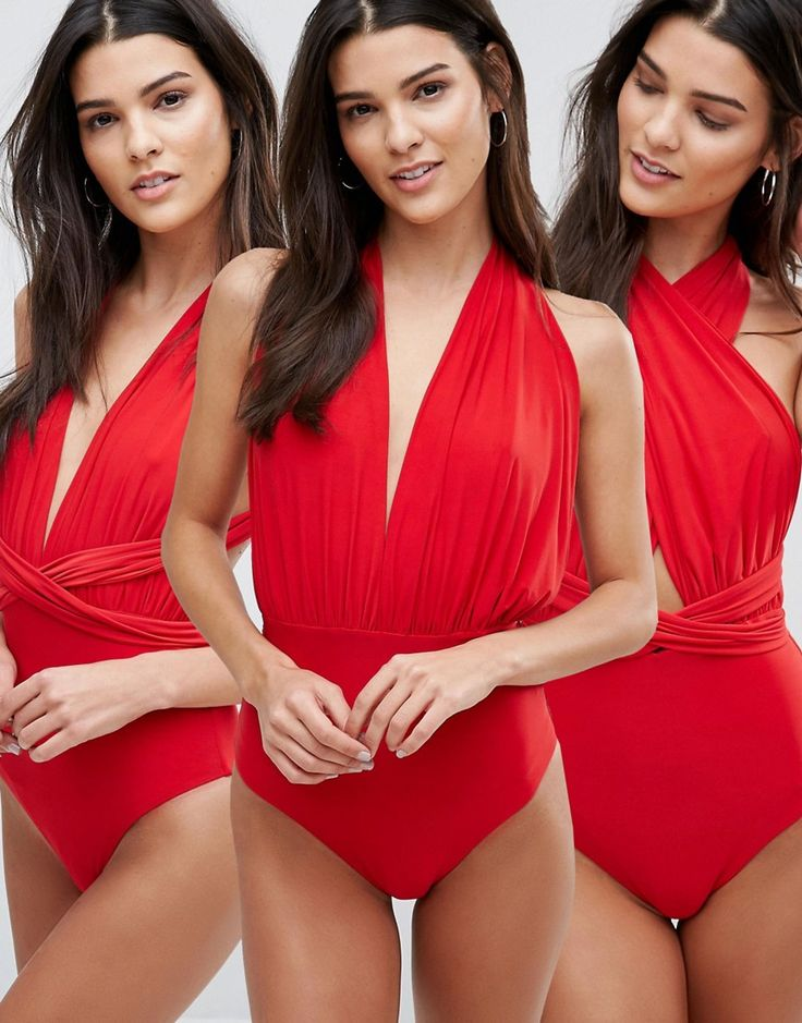 Buy it now. Goddiva Multiway Swimsuit - Red. Swimsuit by Goddiva, Plain swim fabric, Plunge neck, Non-padded cups, Two long straps, Multiway design, Wrap, tie and twist to create your styles, Open back, Tie fastening, High-cut leg, Machine wash, 92% Polyamide, 8% Elastane. , bañador, bañadores, swimsuit, monokini, maillot, onepiece, one-piece, bathingsuit. Red Goddiva  swimsuit  for woman.