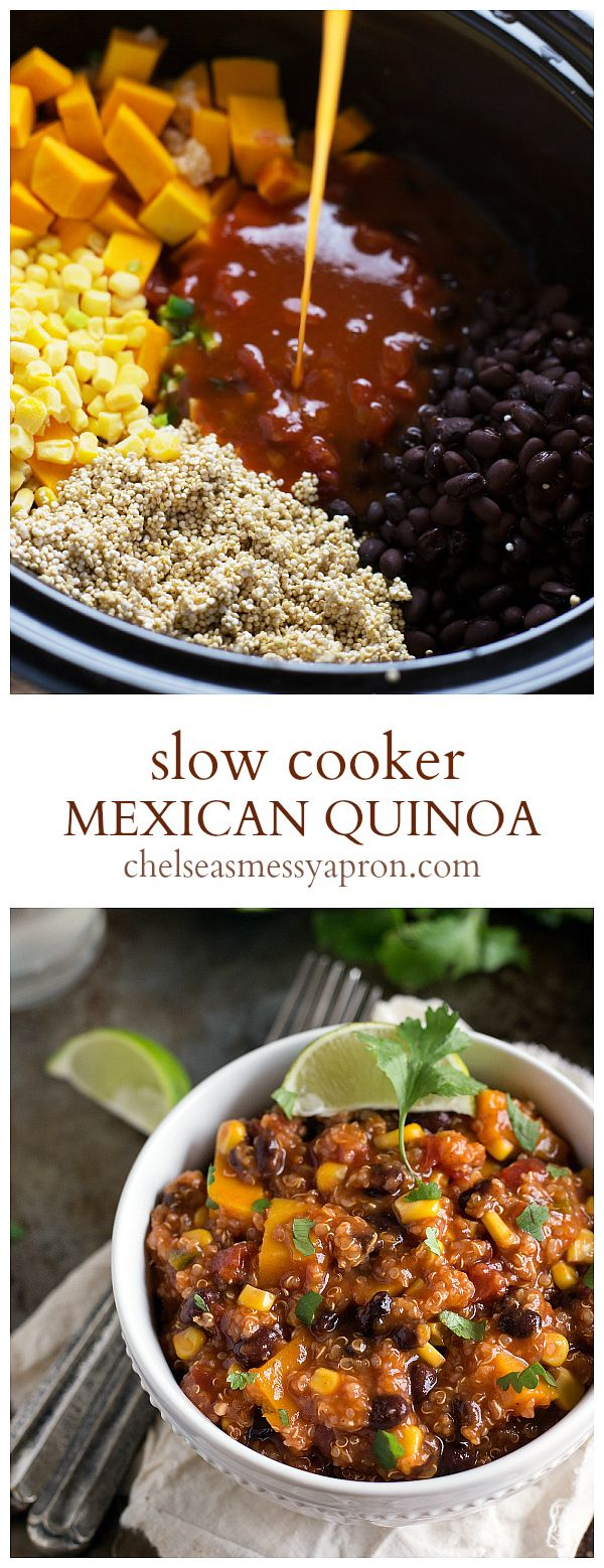 A ONE dish, Crockpot Mexican Quinoa....{Sub sweet potatoes for squash}....