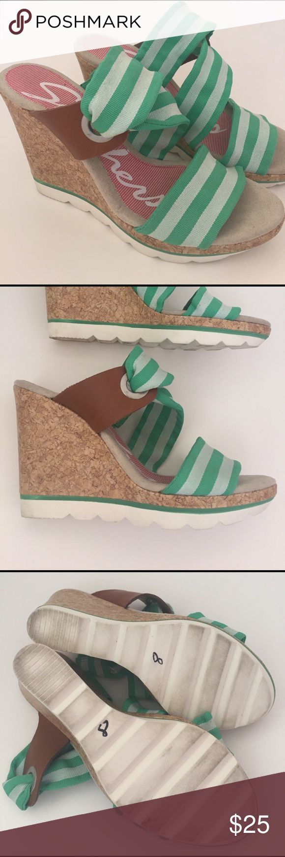 """Skechers Cork Wedge Sandals Super comfortable and adorable. Green and white fabric straps. Worn in the house only for a short time. Like new. 4"""" heel. Skechers Shoes Sandals"""