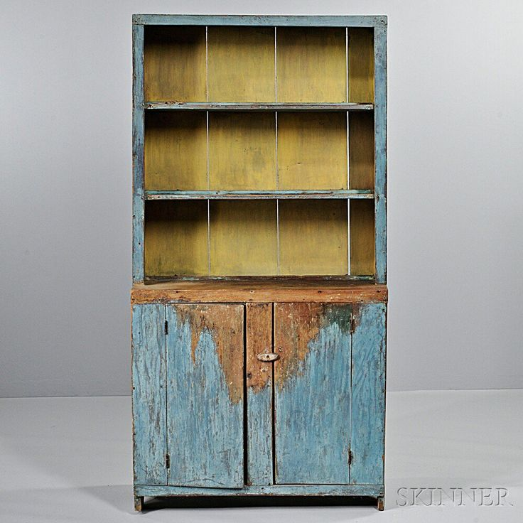 Blue-painted Pine Step-back Cupboard, New England, early century, the open  top above two cupboard doors, old blue paint. Primitive Cabinets ... - 464 Best Primitive Cupboards Images On Pinterest Cupboards