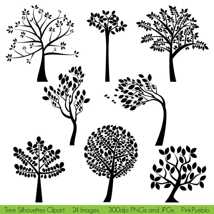 Tree silhouettes clipart clip art family tree clipart for Art sites like etsy