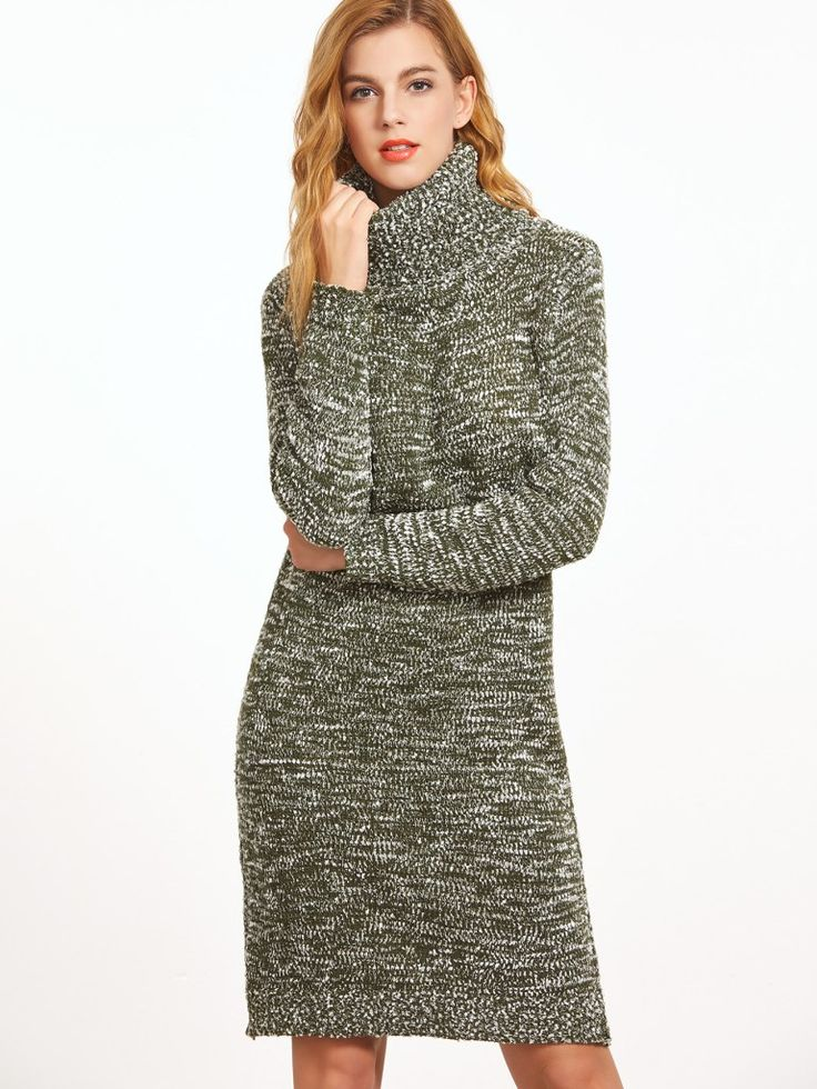 Pale Green Turtleneck Slub Sweater Dress