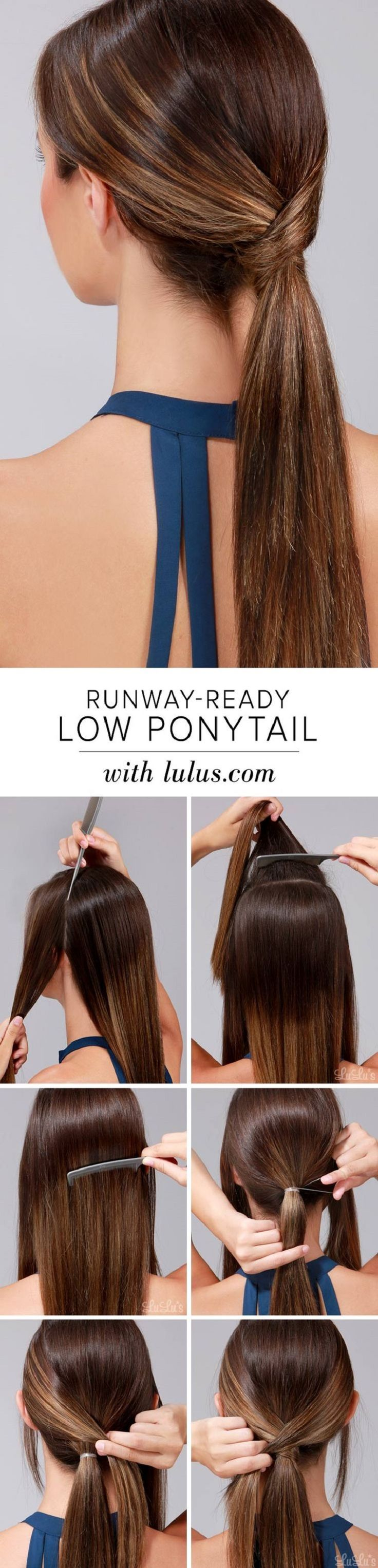 Runway-Ready Low Ponytail - 12 Hairstyle Tutorials for Lazy Girls | GleamItUp