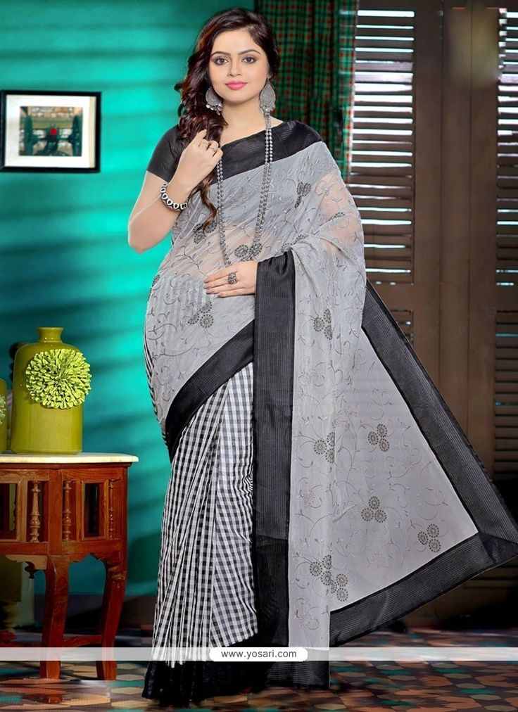 Flawless Grey Embroidered Work Net Saree Model: YOSAR11255