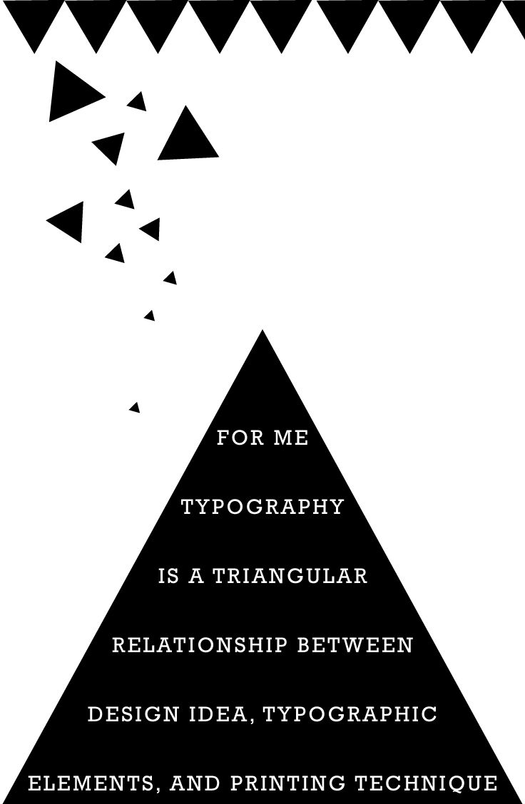 For me, typography is a triangular relationship between design idea, typographic elements, and printing technique. | Wolfgang Weingart | Rockwell |
