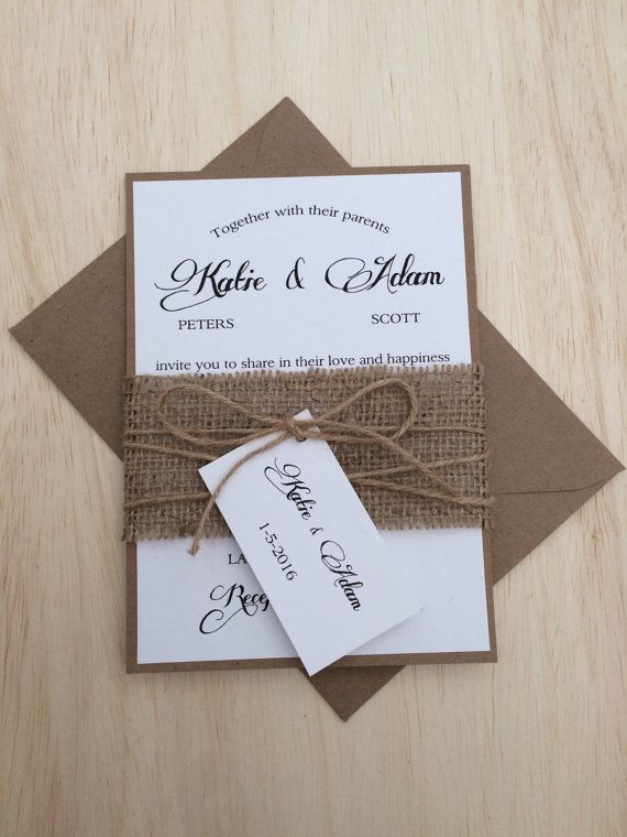 Rustic wedding invitation, burlap wedding invitation, kraft wedding invitation…