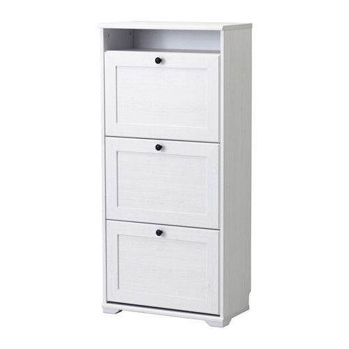 IKEA BRUSALI Shoe cabinet with 3 compartments White 61x130 cm Helps you organise your shoes and saves floor space at the same time.