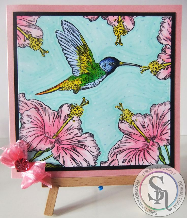 A card made using the new Spectrum Noir Illustrator pens. More details can be found at http://stampingbubbles.blogspot.co.uk/2016/10/tilda-and-hummingbirds.html