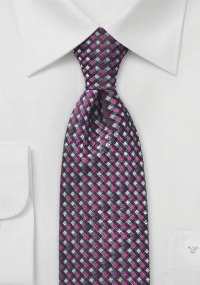 Men's Diamond Tie in Pink and Grey