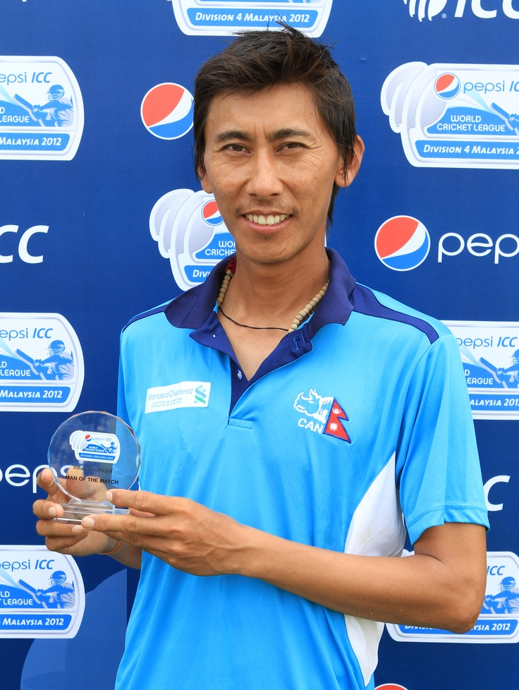 Shakti Gauchan - 10-8-2-3 vs Malaysia in World Cricket League Division 4. Wow! Photo ICC/Peter Lim