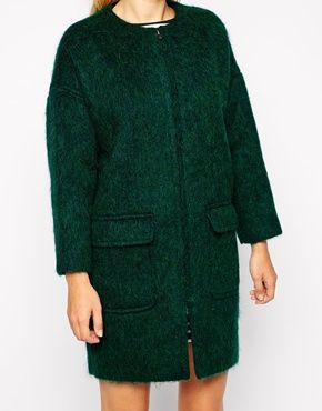 Cocoon Coat in Fluffy Wool with Zip Front I heart coats
