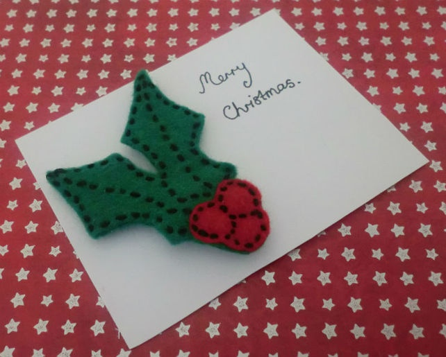 Christmas Holly Brooch Green and Red £3.00